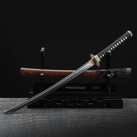 Short Katana, Handmade Japanese Wakizashi Sword Damascus Steel With Rosewood Scabbard