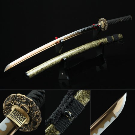 Handmade High Manganese Steel Gold Blade Authentic Japanese Katana Samurai Sword With Copper Tsuba