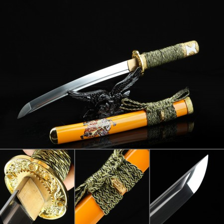 Handmade High Manganese Steel Dragon Tsuba Real Japanese Tanto Sword With Orange Scabbard