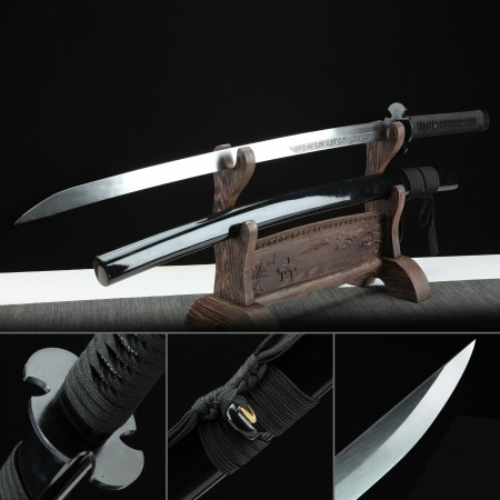 Handmade Spring Steel Real Japanese Katana Samurai Sword With Black Scabbard