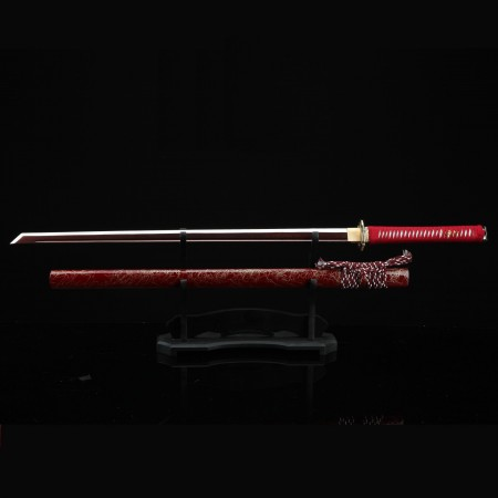 Handmade Red Straight Blade Ninjato Ninja Sword With Red Scabbard