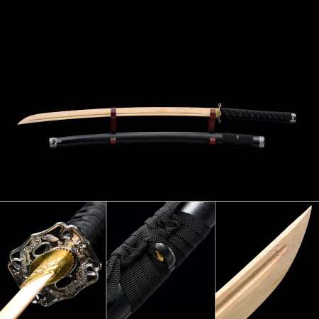 Handmade Natural Bamboo Wooden Blade Unsharpened Katana Swords With Black Scabbard And Dragon Tsuba