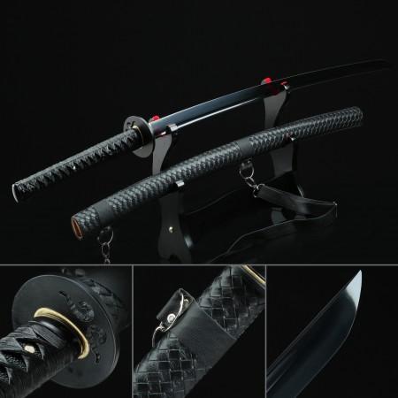 Handmade Spring Steel Black Blade Real Japanese Katana Samurai Swords With Black Strap