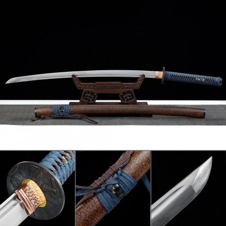 Handmade High Manganese Steel Monk Tsuba Real Japanese Katana Samurai Swords With Brown Scabbard