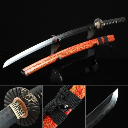 High-performance Pattern Steel Real Hamon Japanese Katana Samurai Sword With Orange Scabbard