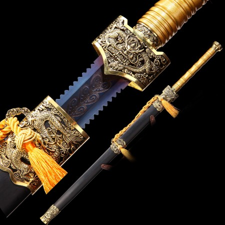 Handmade High Manganese Steel Blue Blade Chinese Han Dynasty Sword With Ebony Scabbard