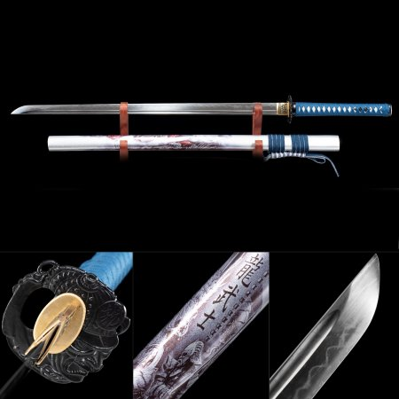 Handmade T10 Carbon Steel Full Tang Real Hamon Japanese Ninjato Ninja Swords With White Scabbard