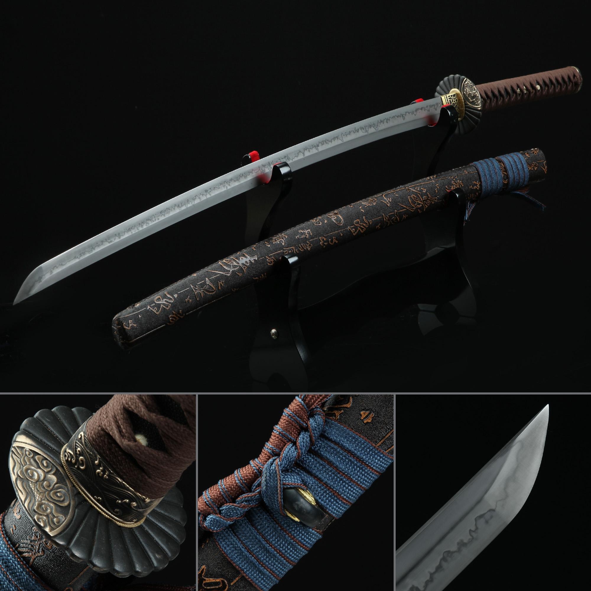 Real Hamon Sunflower Tsuba Katana Samurai Swords With Chinese Character Scabbard