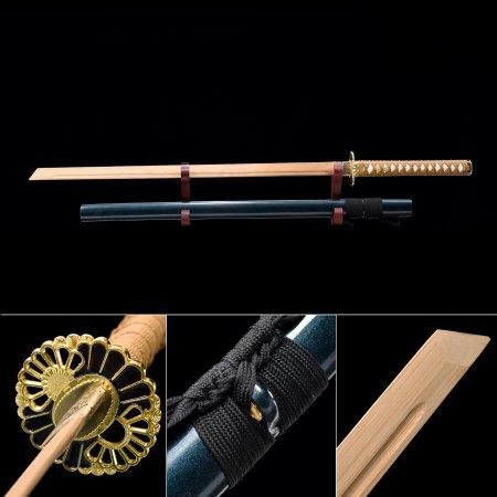 Handmade Natural Bamboo Wooden Straight Blade Unsharpened Ninjato Ninja Swords With Blue Scabbard