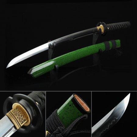 Short Katana, Handmade Wakizashi Sword T10 Folded Clay Tempered Steel With Green Scabbard
