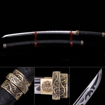 Modern Katana, Handmade Japanese Samurai Sword High Manganese Steel Full Tang With Black Scabbard