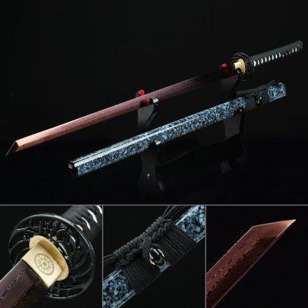 Handmade Pattern Steel Red Blade Real Japanese Ninjato Ninja Sword With Marble Scabbard