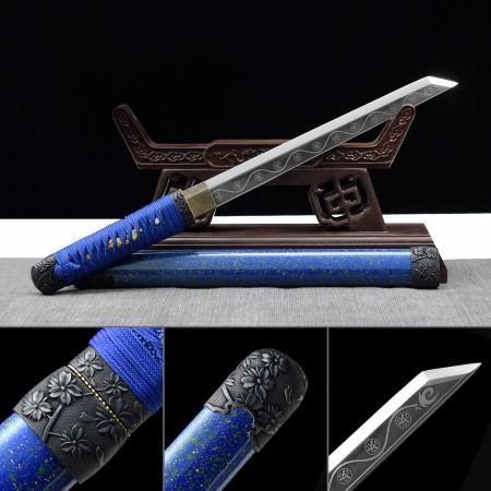 Handmade High Manganese Steel Real Japanese Samurai Hamidashi Tanto Sword With Blue Scabbard