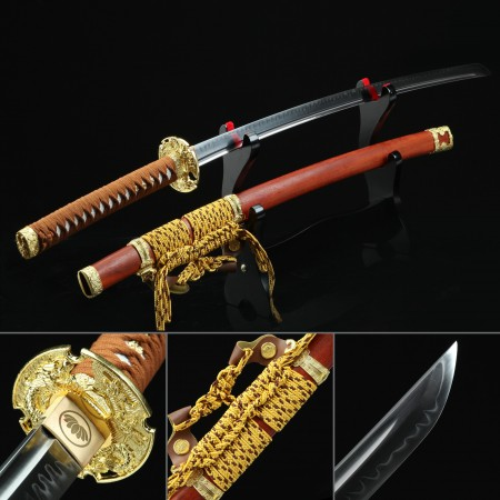 Handmade T10 Carbon Steel Real Hamon Japanese Katana Samurai Swords With Rosewood Scabbard