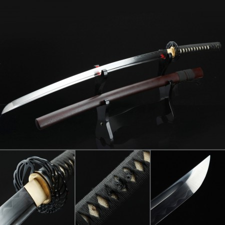 Brown Hand Forged Carbon Steel Clay Tempered Battle Ready Katana Samurai Swords