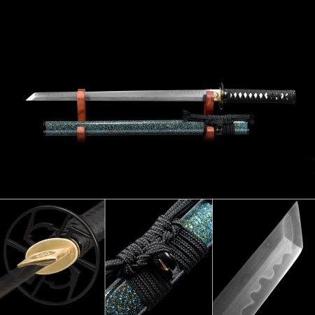 Handmade T10 Carbon Steel Real Hamon Japanese Ninjato Ninja Sword With Blue Scabbard