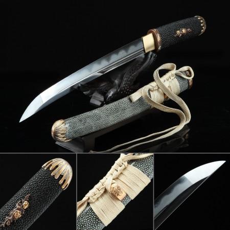 High-performance Pattern Steel Real Hamon Japanese Aikuchi Tanto Sword With Gray Scabbard