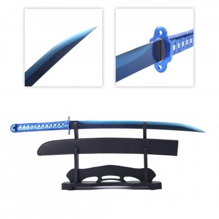 Handmade Full Tang Blue Printed Blade Katana Real Japanese Wakizashi Swords