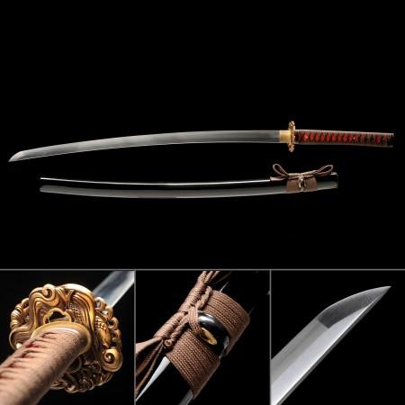 Handmade High Manganese Steel Real Japanese Katana Samurai Sword With Black Scabbard