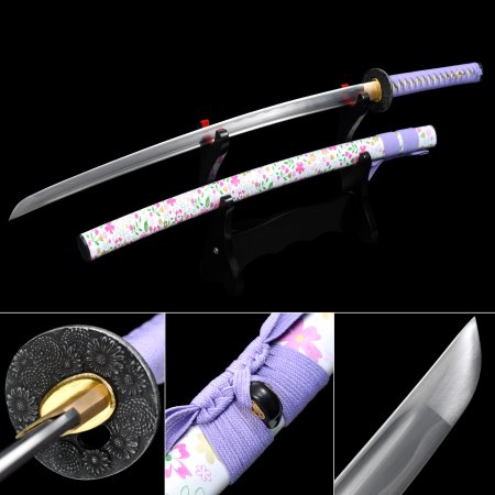Japanese Samurai Sword 1060 Carbon Steel With Flower Scabbard