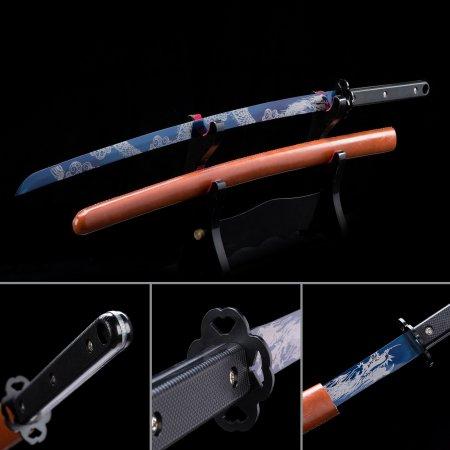 Handmade Spring Steel Blue Blade Japanese Samurai Katana Swords With Red Scabbard