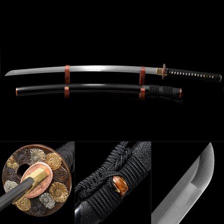 High-performance Pattern Steel Flower Tsuba Real Japanese Samurai Katana Swords With Black Scabbard