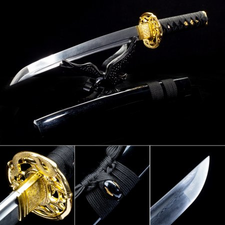 Handmade Pattern Steel Sharpening Blade Japanese Tanto Swords With Black Scabbard And Dragon Tsuba