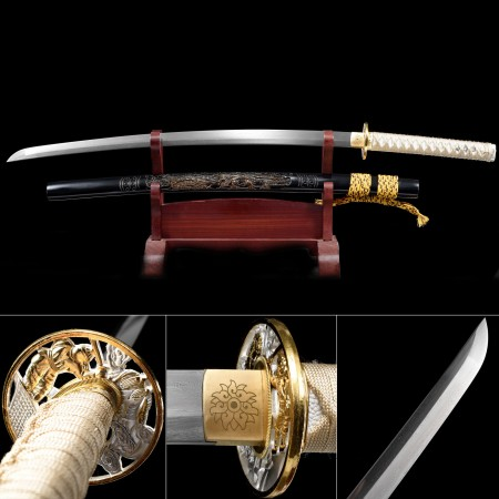 Handmade Pattern Steel Phoenix Saya Theme Real Japanese Katana Samurail Swords