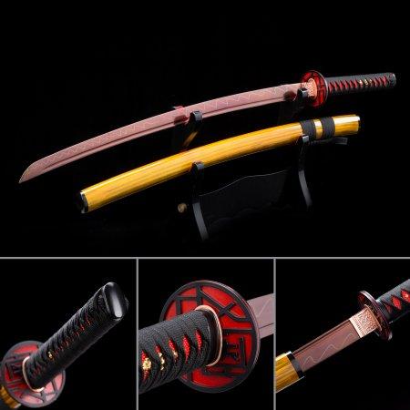 Handmade Japanese Katana Sword High Manganese Steel With Red Blade And Yellow Scabbard