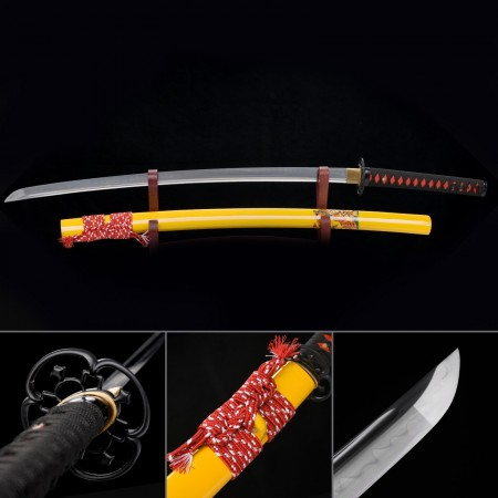 Hand Forged Real Hamon Blade Katana Japanese Samurai Swords With Yellow Scabbard