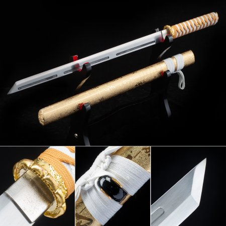 Handmade High Manganese Steel Sharpening Japanese Ninjato Ninja Swords With Gold Scabbard