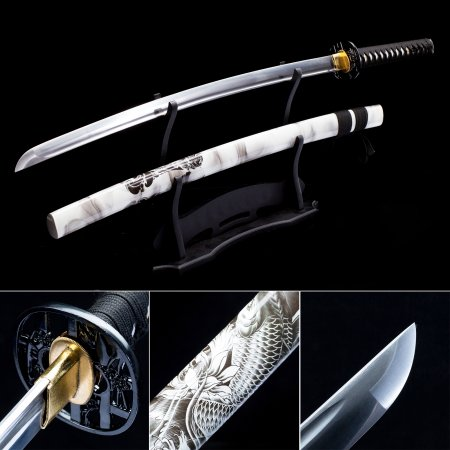 Handmade Full Tang Japanese Katana Sword High Manganese Steel With White Scabbard
