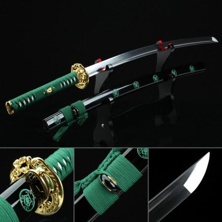 Handmade High Manganese Steel Real Japanese Katana Samurai Swords With Black Scabbard