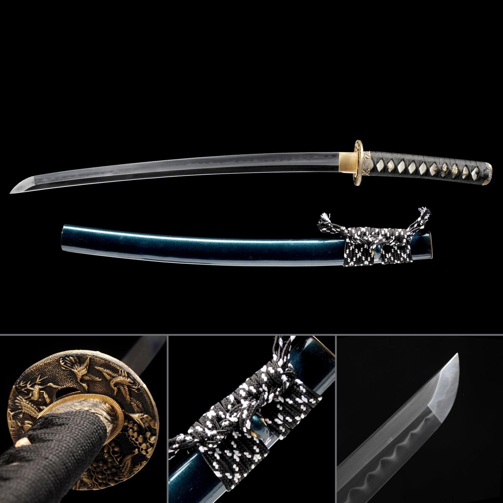 Short Katana, Handmade Wakizashi Sword T10 Folded Clay Tempered Steel With Blue Scabbard