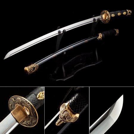 Handmade High Manganese Steel Handforged Japanese Samurai Katana Sword With Black Scabbard