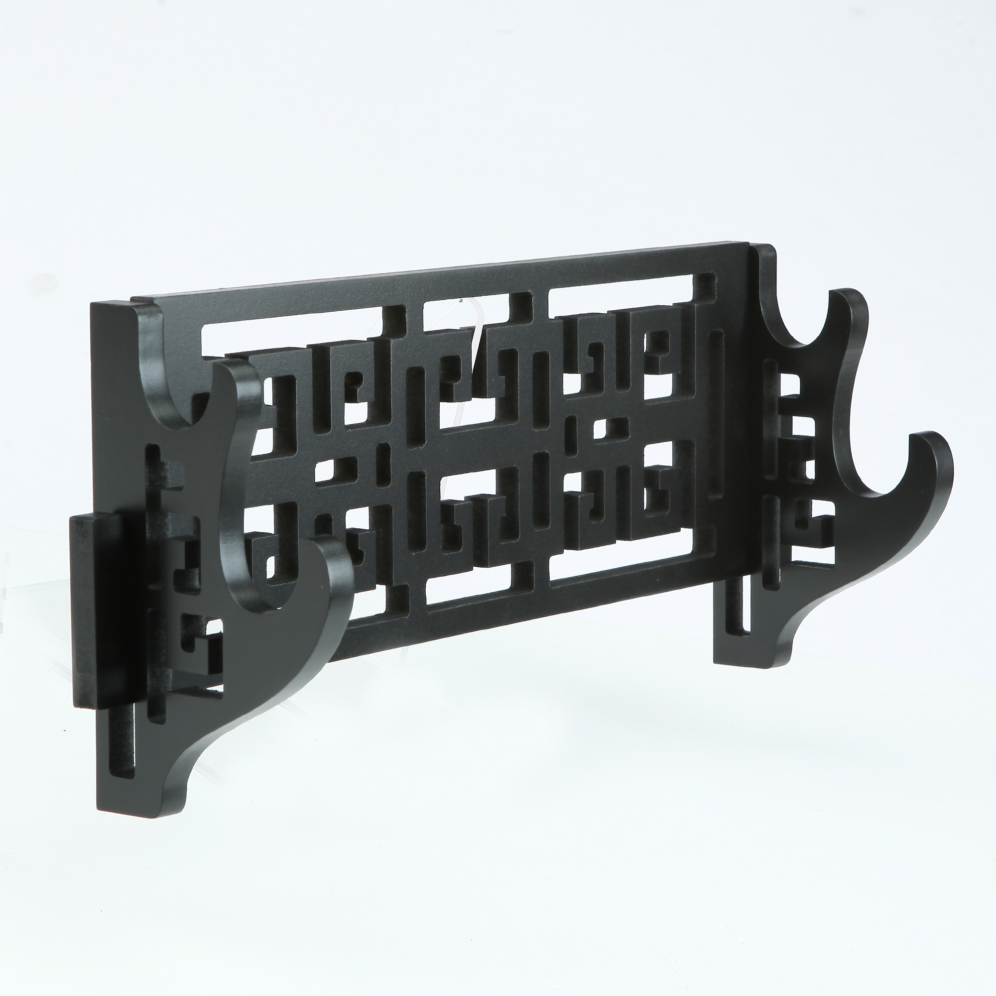 Handmade Back Wooden Double Tier Katana Stand Holder Display Rack Stand Wall Mount