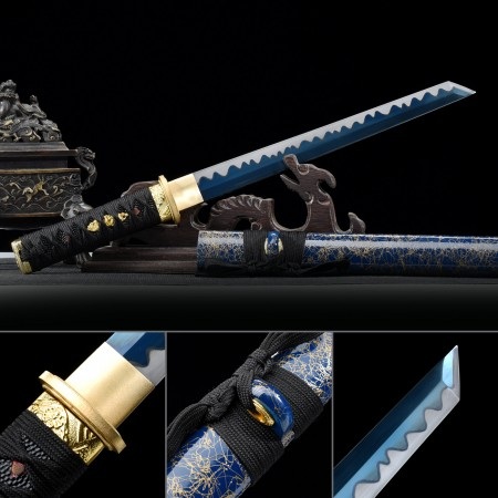 Handmade 1045 Carbon Steel Blue Blade Real Japanese Hamidashi Tanto Sword With Blue Scabbard