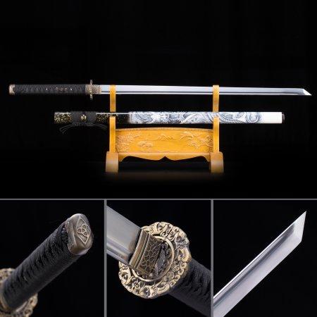 High Manganese Steel Straight Blade Chokuto Japanese Ninjato Swords With Dragon Scabbard