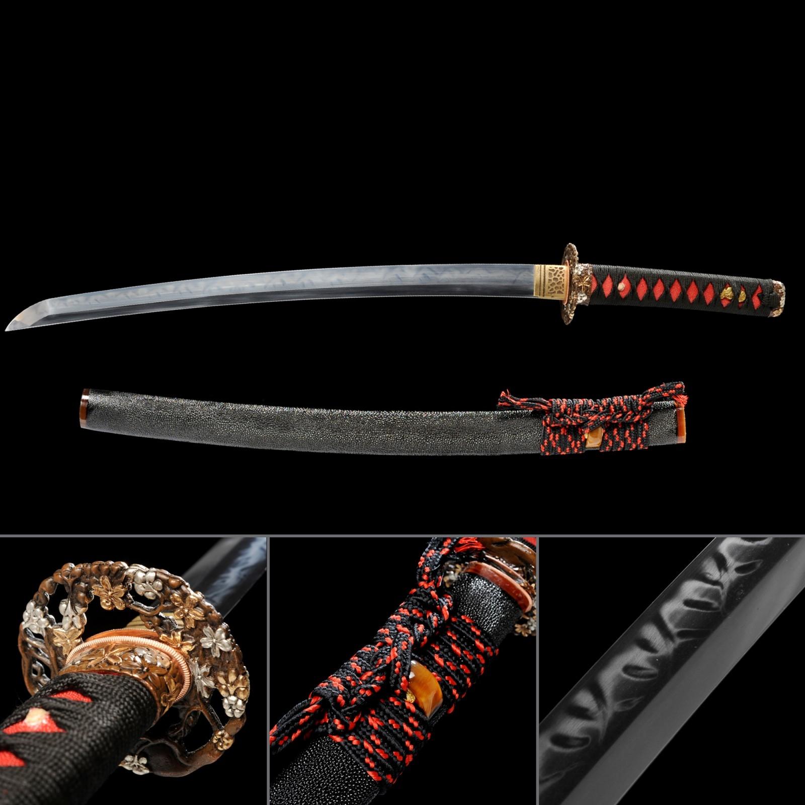 Handmade Gold Silver Flower Tsuba Rayskin Saya Real Hamon Wakizashi Swords