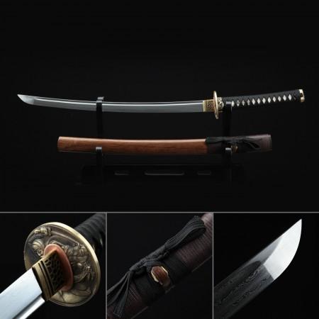 Short Katana, Handmade Wakizashi Sword Damascus Steel With Brown Scabbard