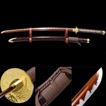 Handmade High Manganese Steel Red Blade Real Japanese Samurai Katana Sword With Dark Red Scabbard