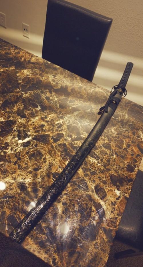 Black Gold Silk Thread Saya Hand Forged Real Hamon Japanese Katana Samurai Sword