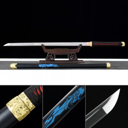 Handmade Manganese Steel No Guard Ninjato Sword With Blackwood Saya And Gold Alloy Fittings