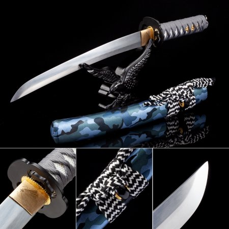 Handmade High Manganese Steel Real Japanese Tanto Sword With Blue Scabbard
