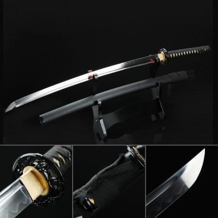 Hand Forged Clay Tempered Blade Black Real Katana Samurai Swords