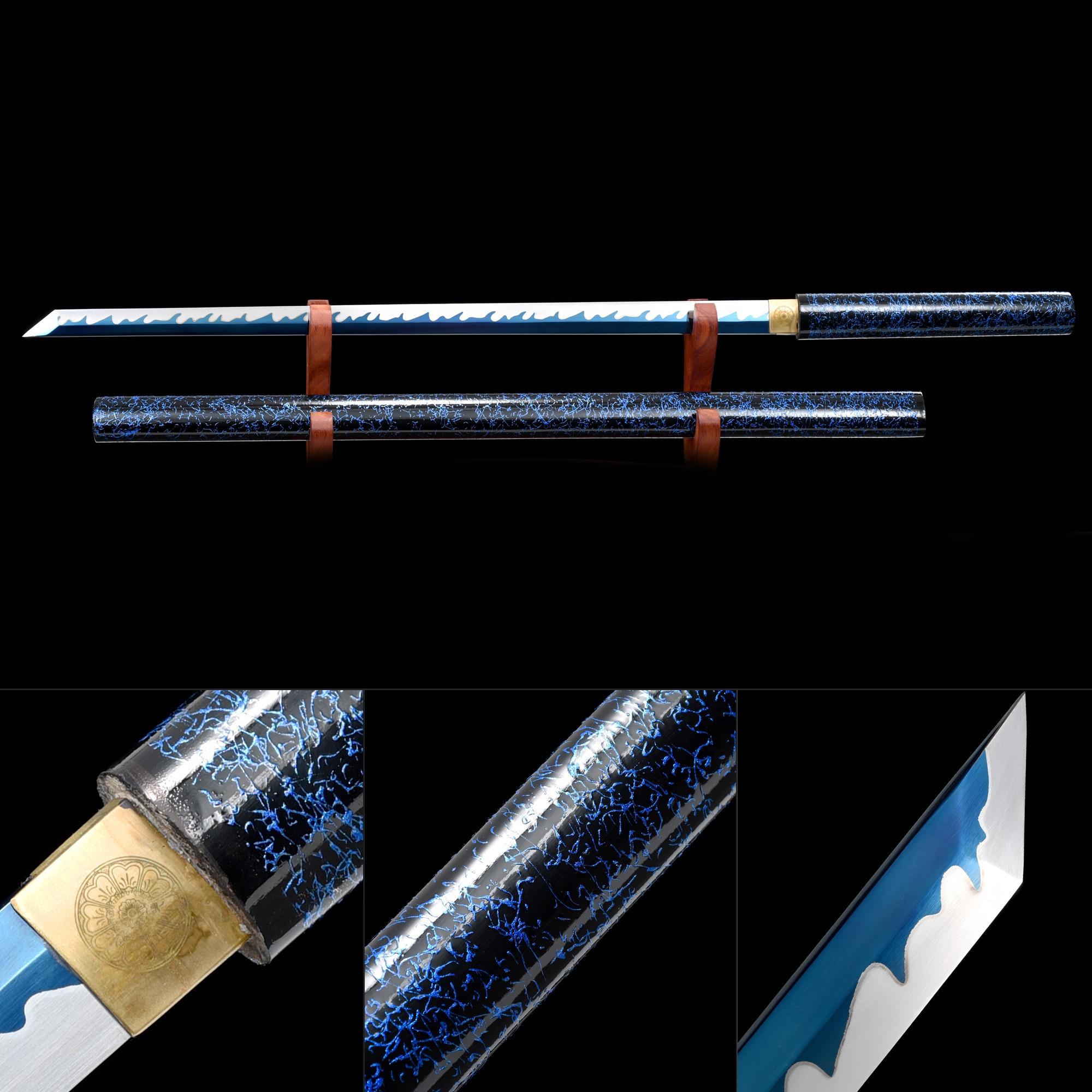Handmade Blue Blade Japanese Shirasaya Ninjato Shikomizue Blind Fury Stick Swords Without Tsuba