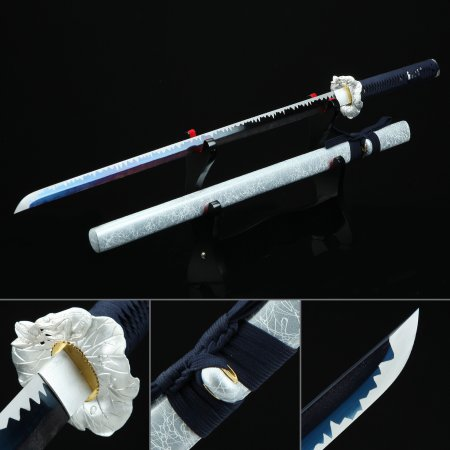 Handmade Spring Steel Blue Straight Blade Real Japanese Ninjato Ninja Swords With Flower Tsuba