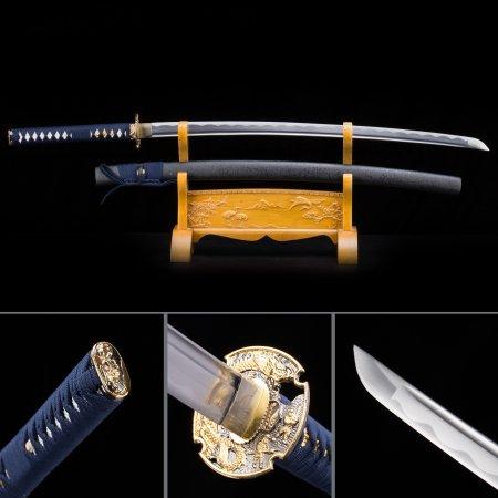 Handmade Japanese Samurai Sword 1045 Carbon Steel With Black Scabbard And Dragon Tsuba