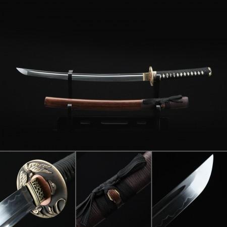 Short Katana, Handmade Wakizashi Sword T10 Folded Clay Tempered Steel With Brown Scabbard