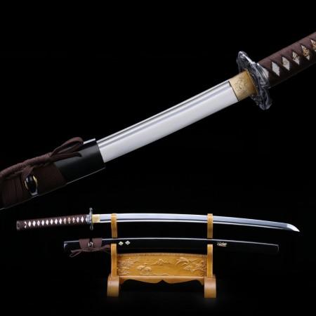 Black Samurai Sword, Bamboo Snake Tsuba Real Manganese Steel Japanese Katana